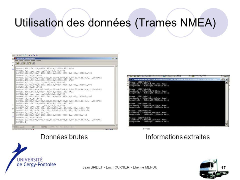 Jean BRIDET - Eric FOURNIER - Etienne MENOU 17 Utilisation des données (Trames NMEA) Données brutesInformations extraites