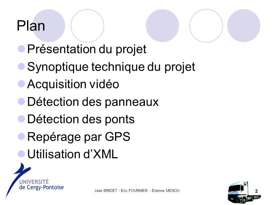 Jean BRIDET - Eric FOURNIER - Etienne MENOU 2 Plan Présentation du projet Synoptique technique du projet Acquisition vidéo Détection des panneaux Détection des ponts Repérage par GPS Utilisation d'XML