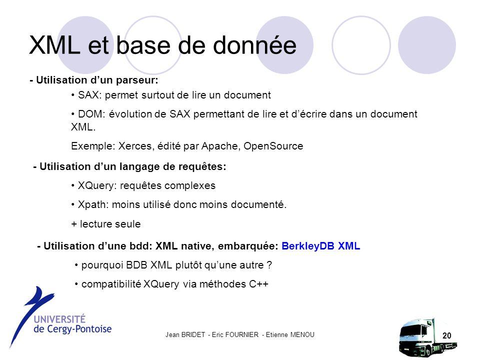 Jean BRIDET - Eric FOURNIER - Etienne MENOU 20 XML et base de donnée - Utilisation d'un parseur: SAX: permet surtout de lire un document DOM: évolution de SAX permettant de lire et d'écrire dans un document XML.
