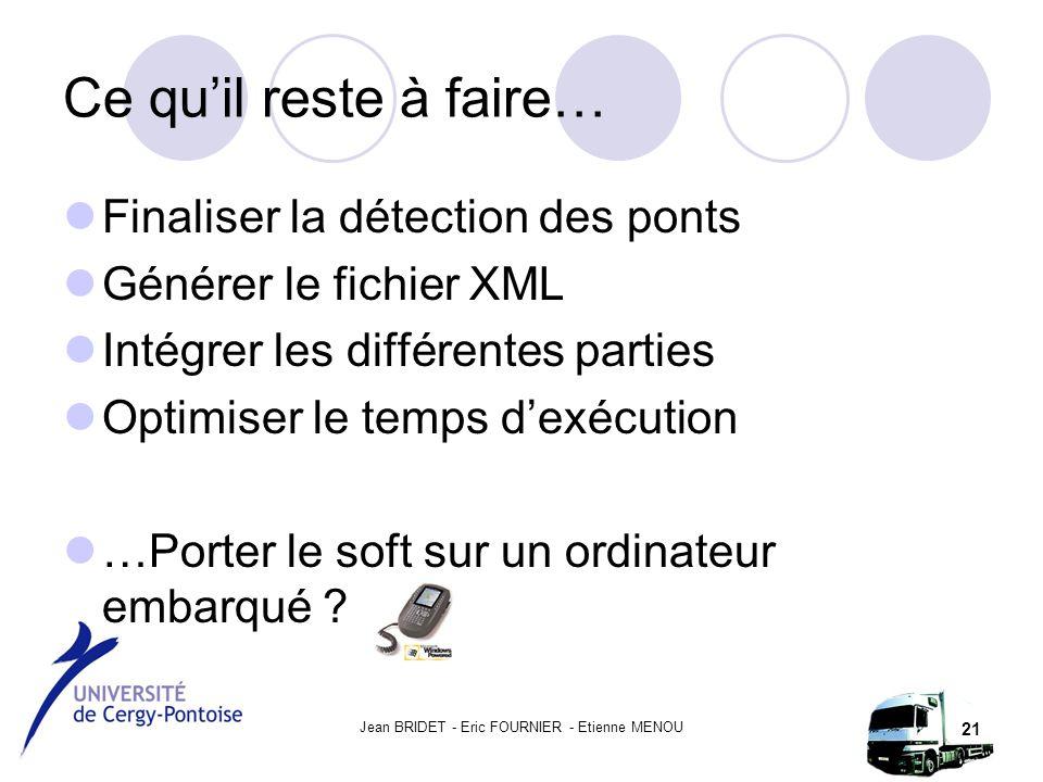 Jean BRIDET - Eric FOURNIER - Etienne MENOU 21 Ce qu'il reste à faire… Finaliser la détection des ponts Générer le fichier XML Intégrer les différentes parties Optimiser le temps d'exécution …Porter le soft sur un ordinateur embarqué
