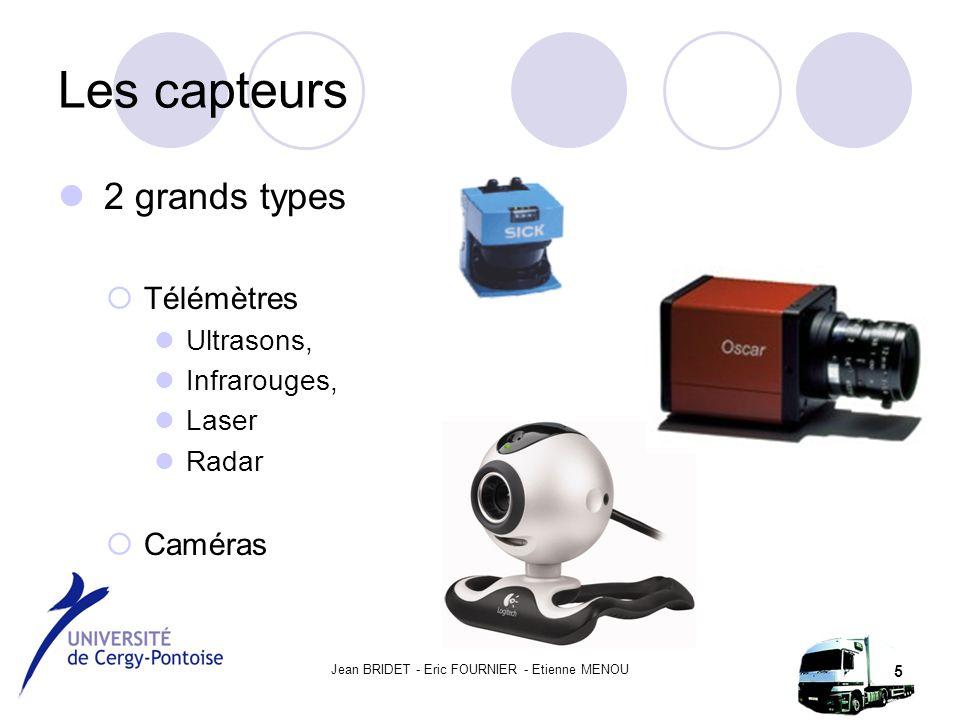 Jean BRIDET - Eric FOURNIER - Etienne MENOU 5 Les capteurs 2 grands types  Télémètres Ultrasons, Infrarouges, Laser Radar  Caméras
