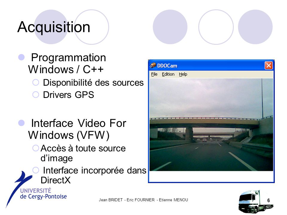 Jean BRIDET - Eric FOURNIER - Etienne MENOU 6 Acquisition Programmation Windows / C++  Disponibilité des sources  Drivers GPS Interface Video For Wi