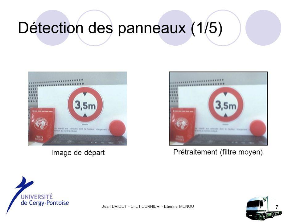 Jean BRIDET - Eric FOURNIER - Etienne MENOU 7 Détection des panneaux (1/5) Image de départ Prétraitement (filtre moyen)