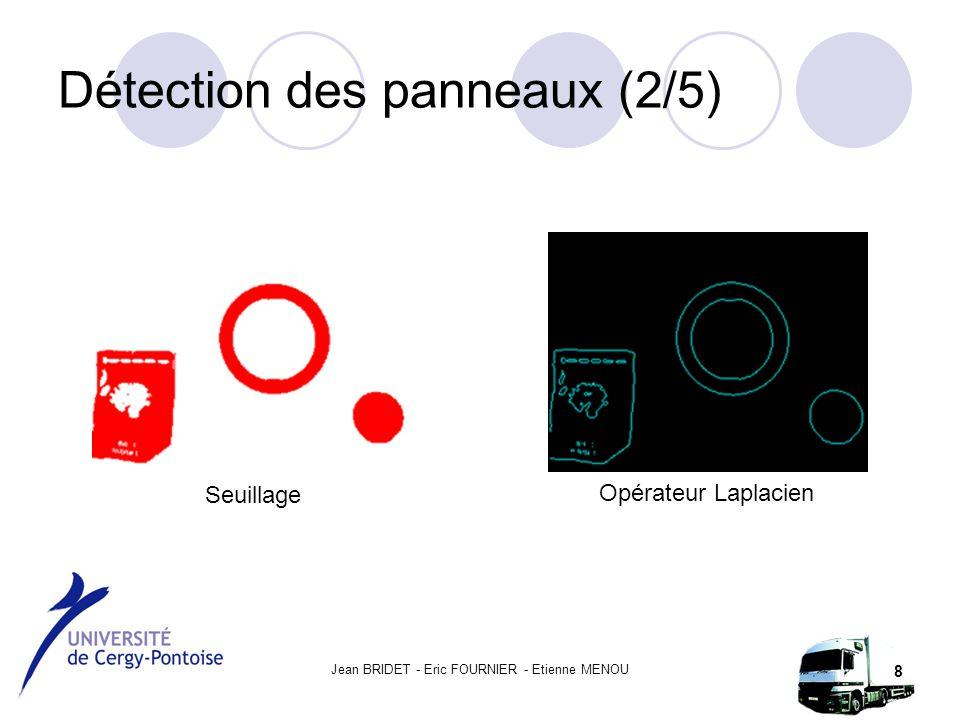 Jean BRIDET - Eric FOURNIER - Etienne MENOU 8 Détection des panneaux (2/5) Seuillage Opérateur Laplacien