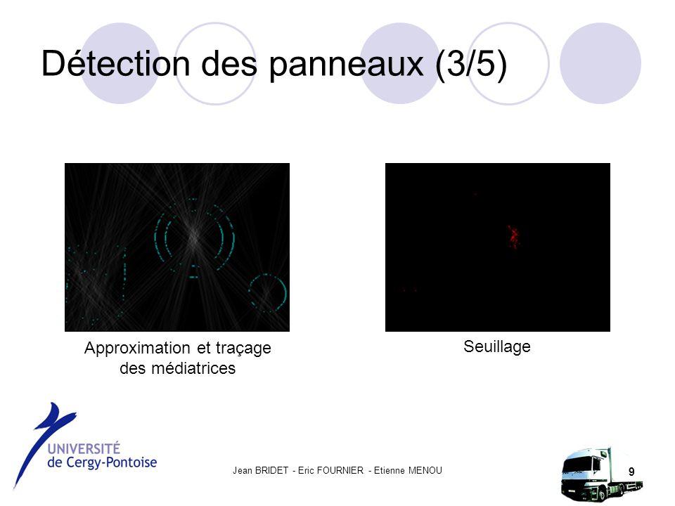 Jean BRIDET - Eric FOURNIER - Etienne MENOU 9 Détection des panneaux (3/5) Approximation et traçage des médiatrices Seuillage
