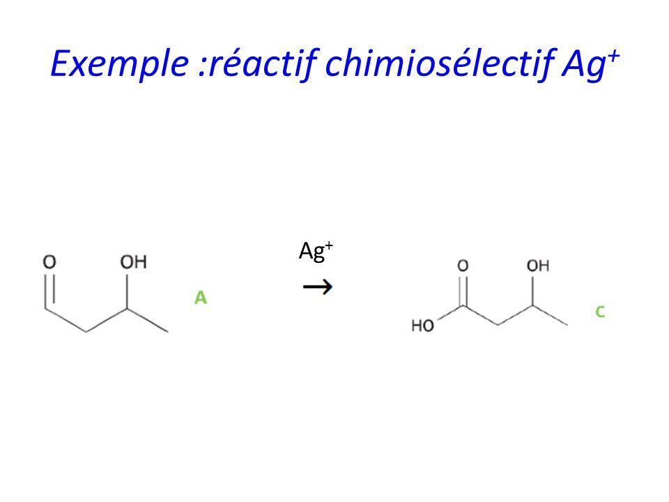 Exemple :réactif chimiosélectif Ag + Ag +