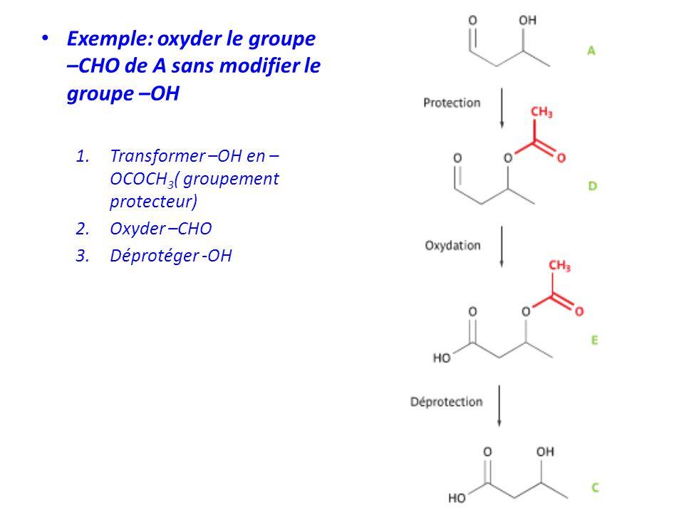 Exemple: oxyder le groupe –CHO de A sans modifier le groupe –OH 1.Transformer –OH en – OCOCH 3 ( groupement protecteur) 2.Oxyder –CHO 3.Déprotéger -OH