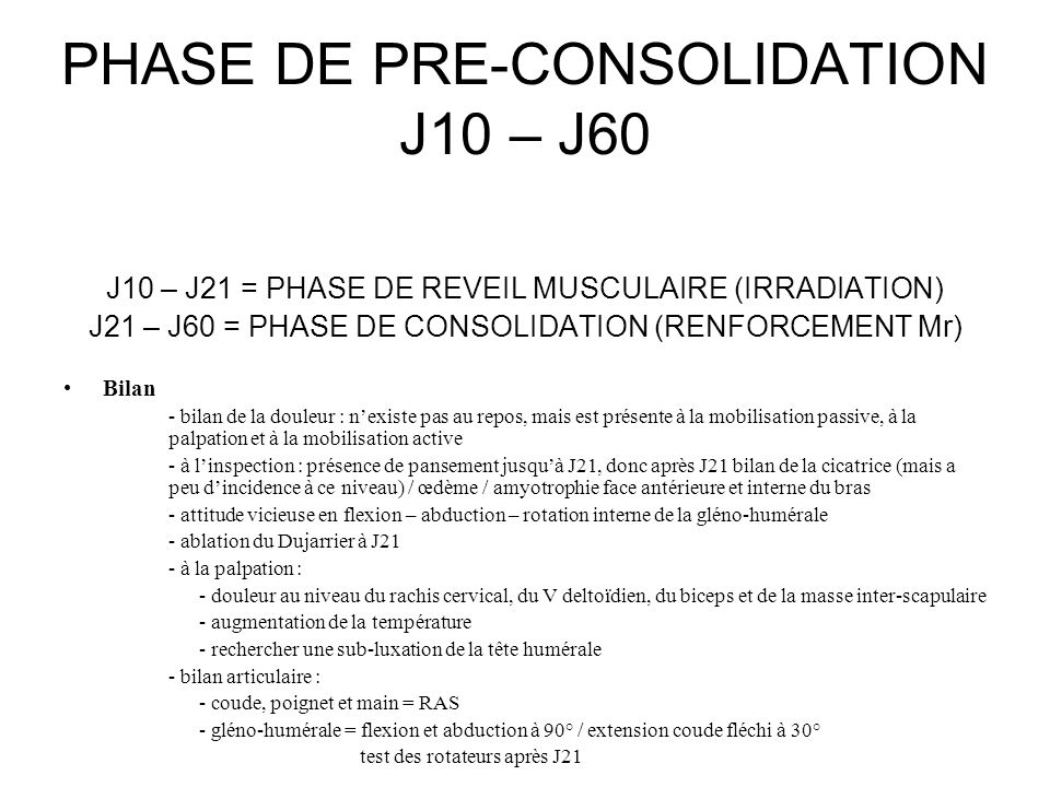 PHASE DE PRE-CONSOLIDATION J10 – J60 J10 – J21 = PHASE DE REVEIL MUSCULAIRE (IRRADIATION) J21 – J60 = PHASE DE CONSOLIDATION (RENFORCEMENT Mr) Bilan -