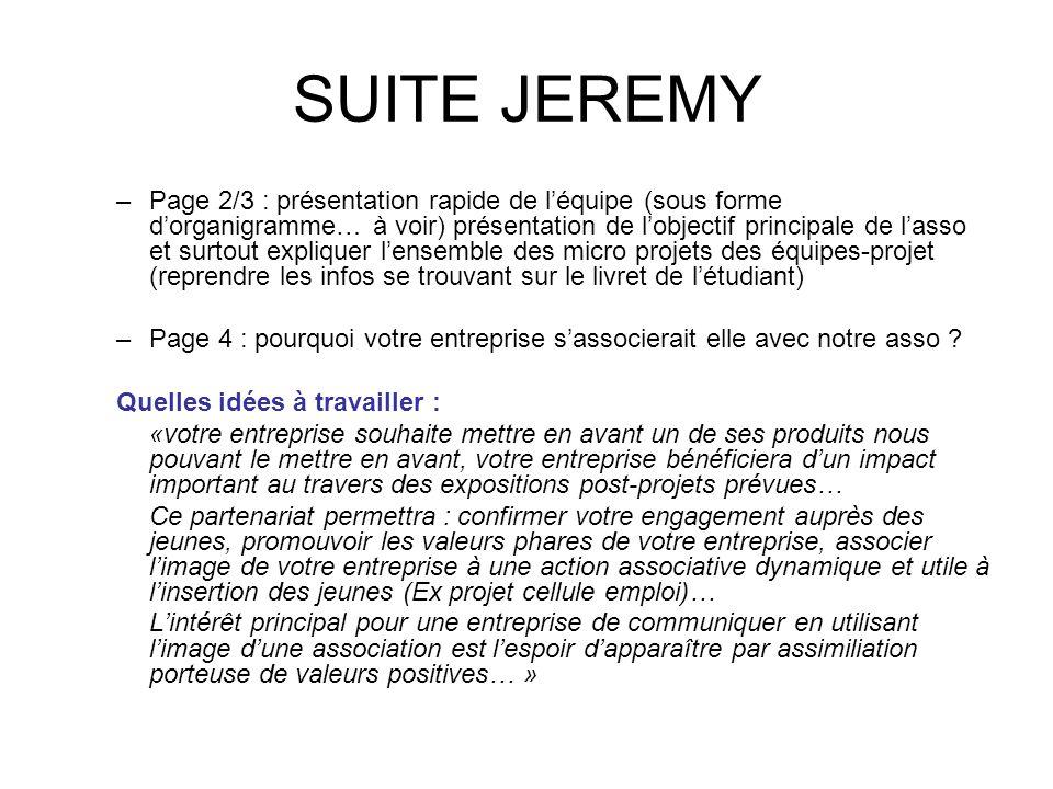 SUITE JEREMY –Page 2/3 : présentation rapide de l'équipe (sous forme d'organigramme… à voir) présentation de l'objectif principale de l'asso et surtou