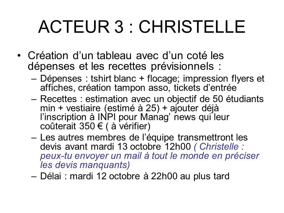 ACTEUR 3 : CHRISTELLE Création d'un tableau avec d'un coté les dépenses et les recettes prévisionnels : –Dépenses : tshirt blanc + flocage; impression