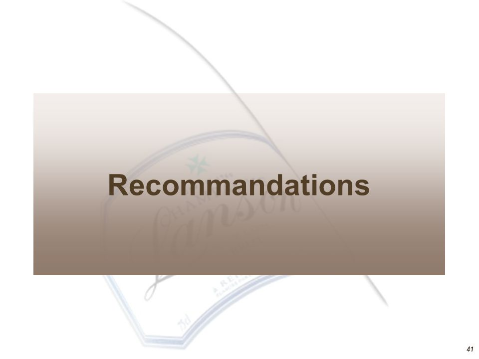 40 Analyse de sensibilité du projet VariablesTRI Stratégie« medium » «Black Carat» : 49€ «Gold Carat» : 80€ Coffret prestige « Gold Carat » : 2000€ - 5% Affaiblissement du Rouble Hypothèse 1 Rouble = 0,60 € - 6%