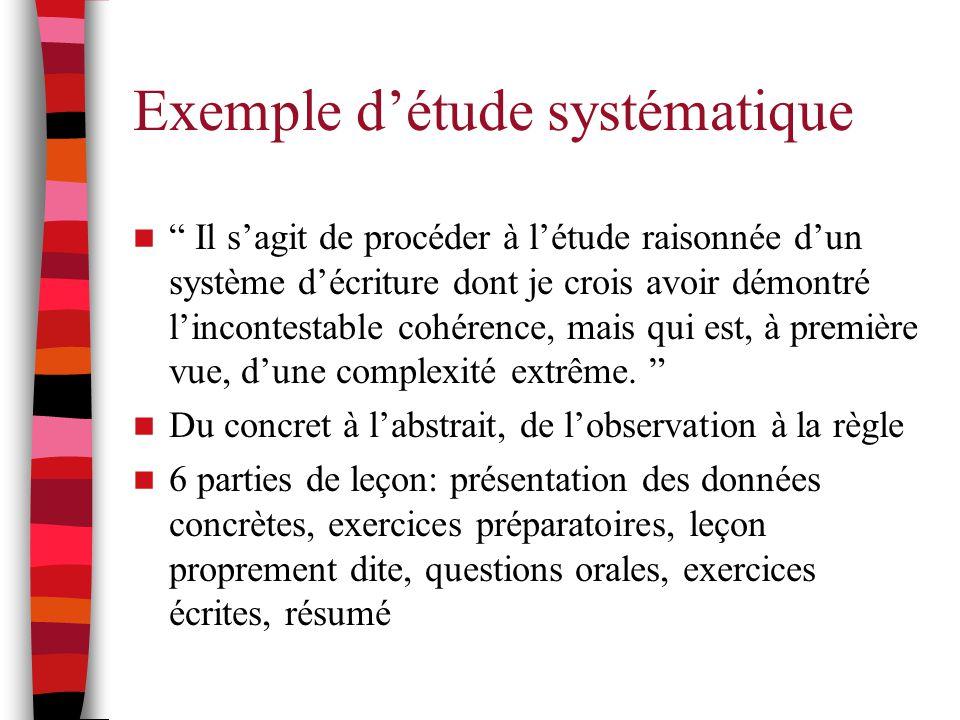 """Exemple d'étude systématique """" Il s'agit de procéder à l'étude raisonnée d'un système d'écriture dont je crois avoir démontré l'incontestable cohérenc"""
