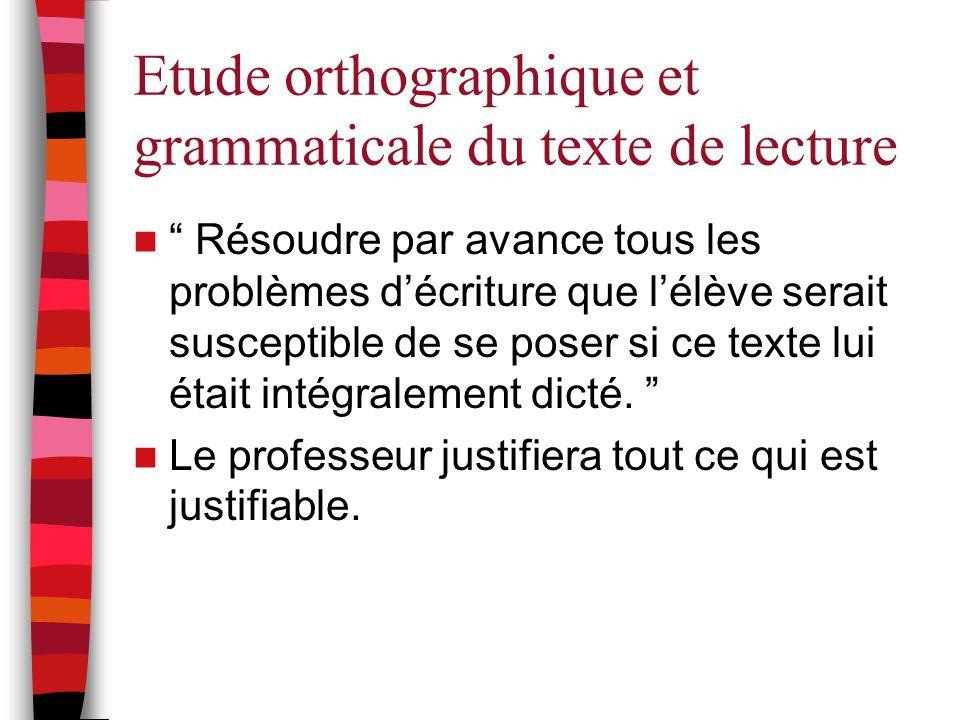 """Etude orthographique et grammaticale du texte de lecture """" Résoudre par avance tous les problèmes d'écriture que l'élève serait susceptible de se pose"""
