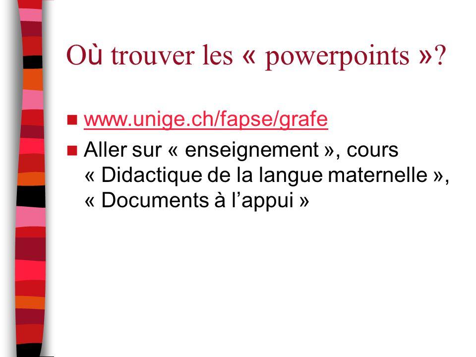 O ù trouver les « powerpoints » ? www.unige.ch/fapse/grafe Aller sur « enseignement », cours « Didactique de la langue maternelle », « Documents à l'a
