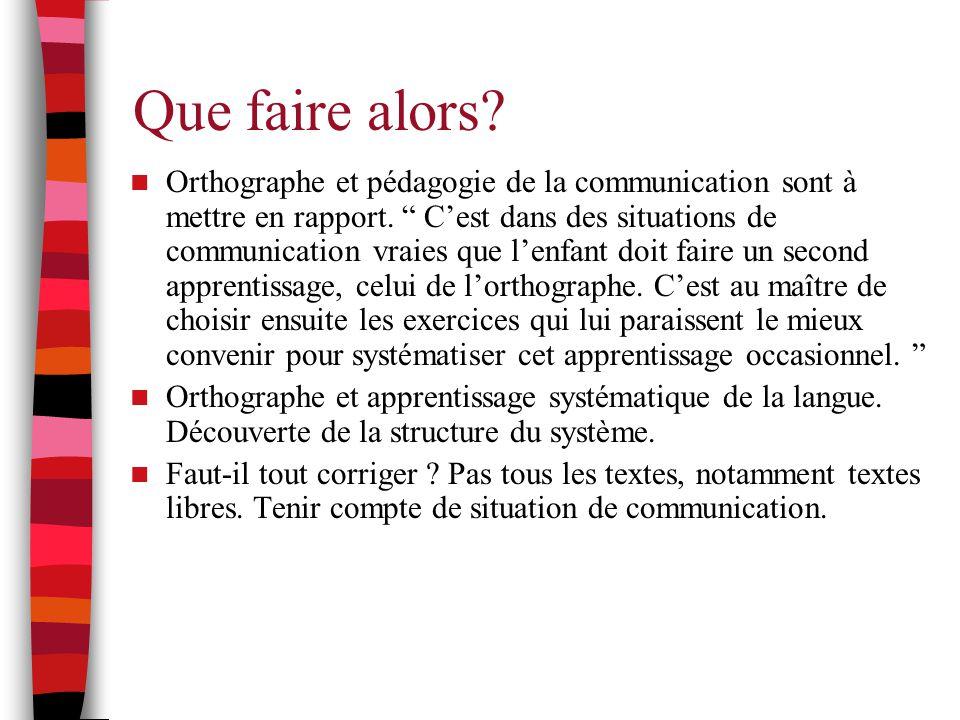 """Que faire alors? Orthographe et pédagogie de la communication sont à mettre en rapport. """" C'est dans des situations de communication vraies que l'enfa"""