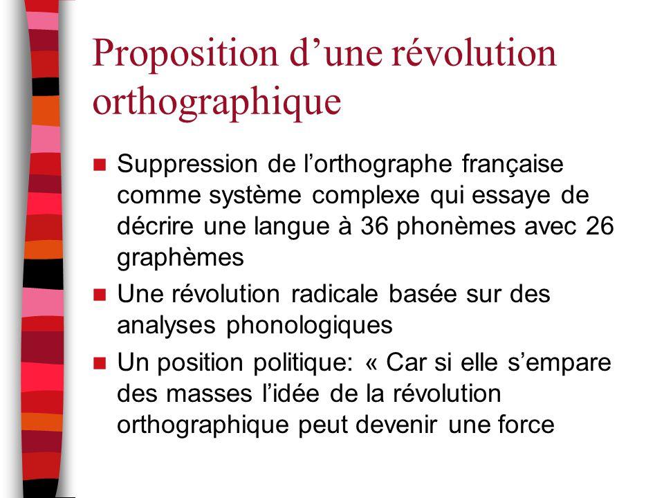 Proposition d'une révolution orthographique Suppression de l'orthographe française comme système complexe qui essaye de décrire une langue à 36 phonèm