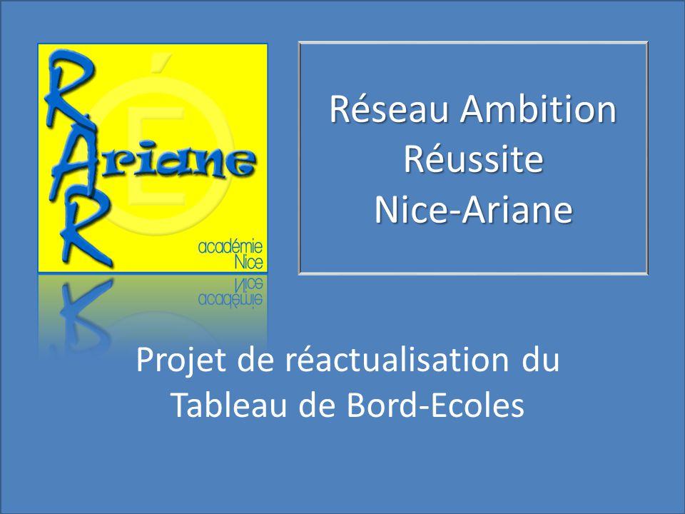 Réseau Ambition Réussite Nice-Ariane Projet de réactualisation du Tableau de Bord-Ecoles