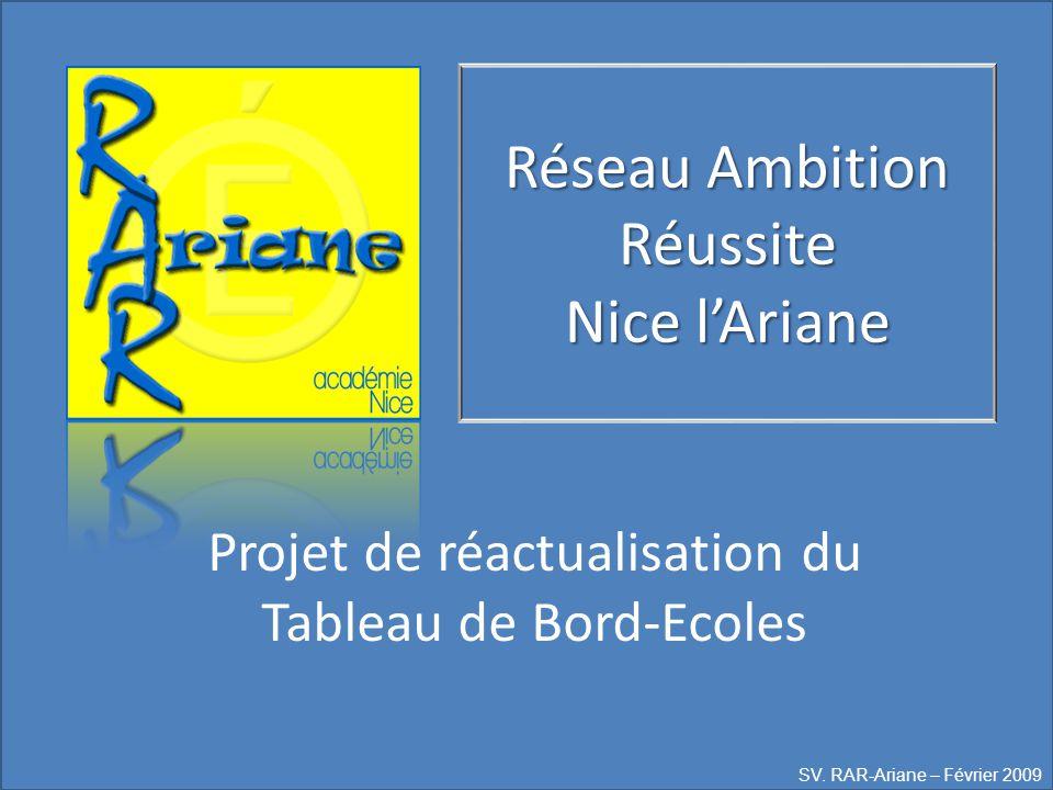 Réseau Ambition Réussite Nice l'Ariane Projet de réactualisation du Tableau de Bord-Ecoles SV. RAR-Ariane – Février 2009