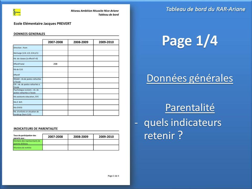Page 1/4 Données générales Parentalité -quels indicateurs retenir ? Page 1/4 Données générales Parentalité -quels indicateurs retenir ? Tableau de bor