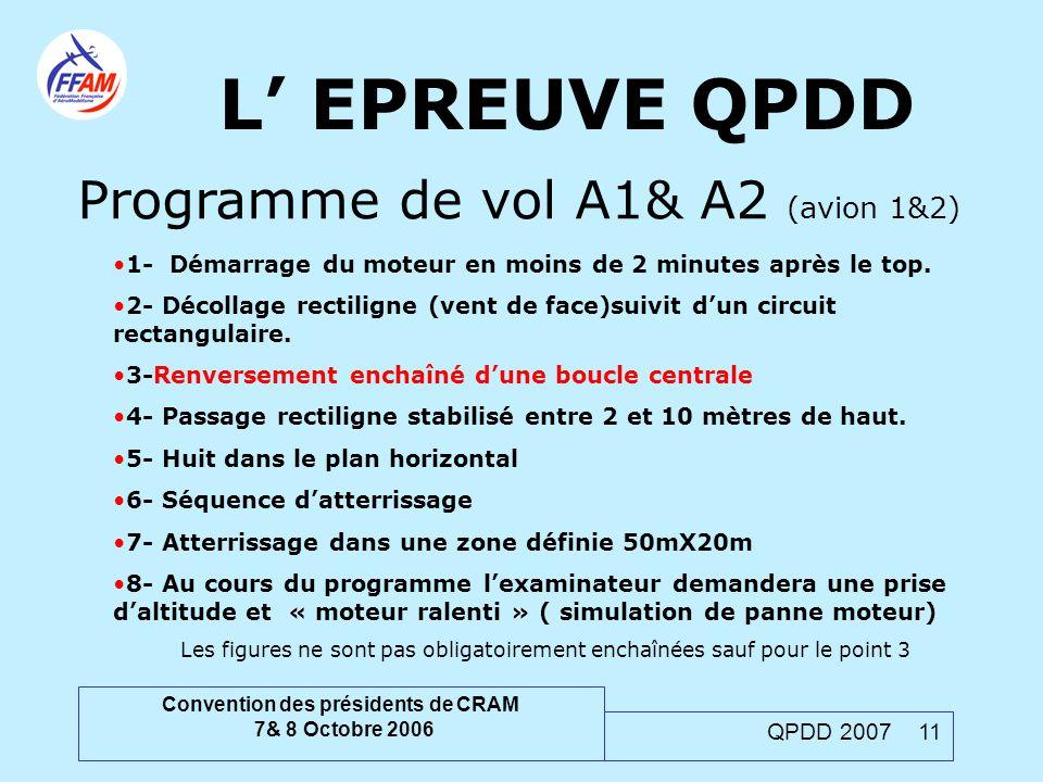 Convention des présidents de CRAM 7& 8 Octobre 2006 QPDD 2007 11 L' EPREUVE QPDD Programme de vol A1& A2 (avion 1&2) 1- Démarrage du moteur en moins d