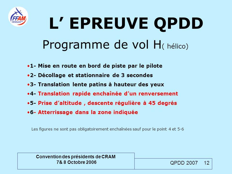 Convention des présidents de CRAM 7& 8 Octobre 2006 QPDD 2007 12 L' EPREUVE QPDD Programme de vol H ( hélico) 1- Mise en route en bord de piste par le