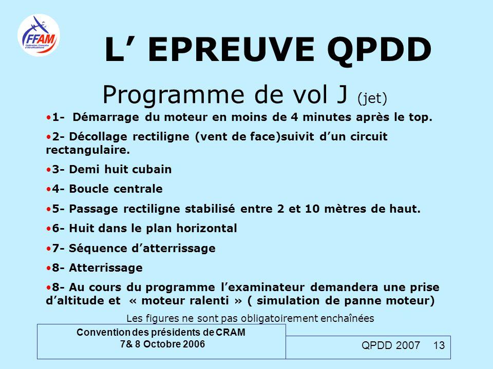 Convention des présidents de CRAM 7& 8 Octobre 2006 QPDD 2007 13 L' EPREUVE QPDD Programme de vol J (jet) 1- Démarrage du moteur en moins de 4 minutes