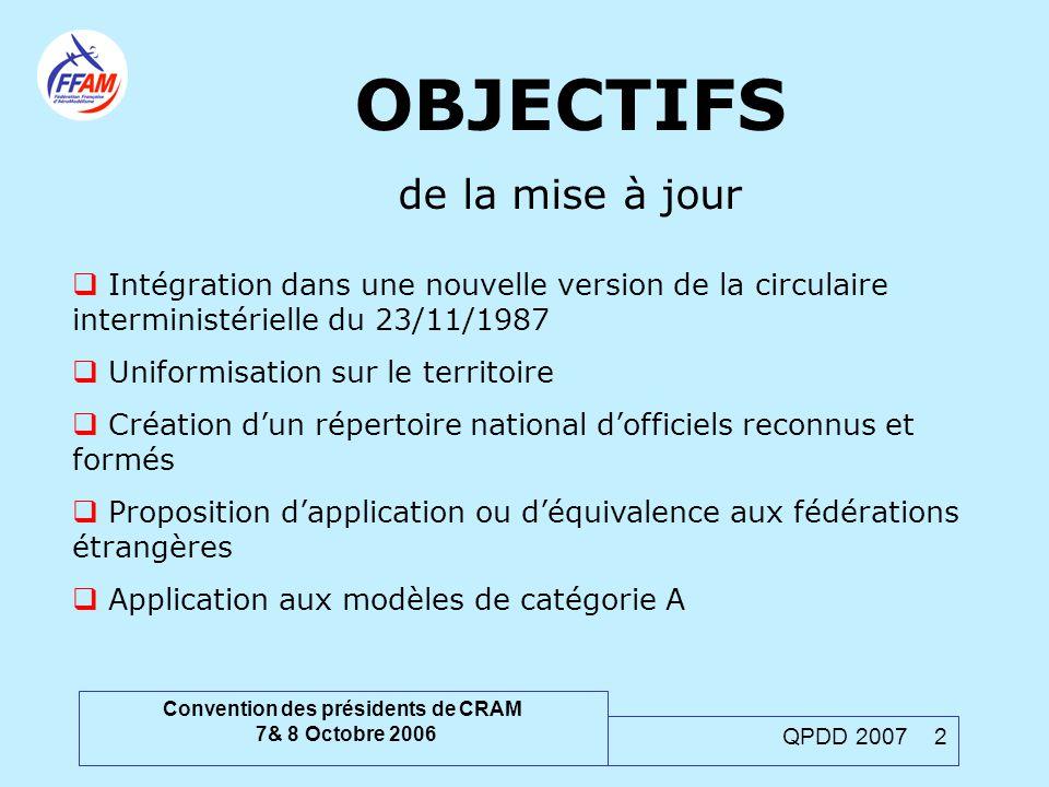 Convention des présidents de CRAM 7& 8 Octobre 2006 QPDD 2007 2 OBJECTIFS de la mise à jour  Intégration dans une nouvelle version de la circulaire i