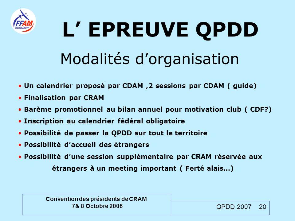 Convention des présidents de CRAM 7& 8 Octobre 2006 QPDD 2007 20 L' EPREUVE QPDD Modalités d'organisation Un calendrier proposé par CDAM,2 sessions pa