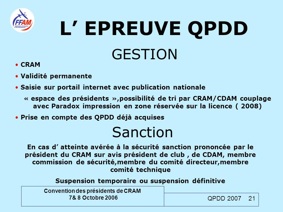 Convention des présidents de CRAM 7& 8 Octobre 2006 QPDD 2007 21 L' EPREUVE QPDD GESTION CRAM Validité permanente Saisie sur portail internet avec pub
