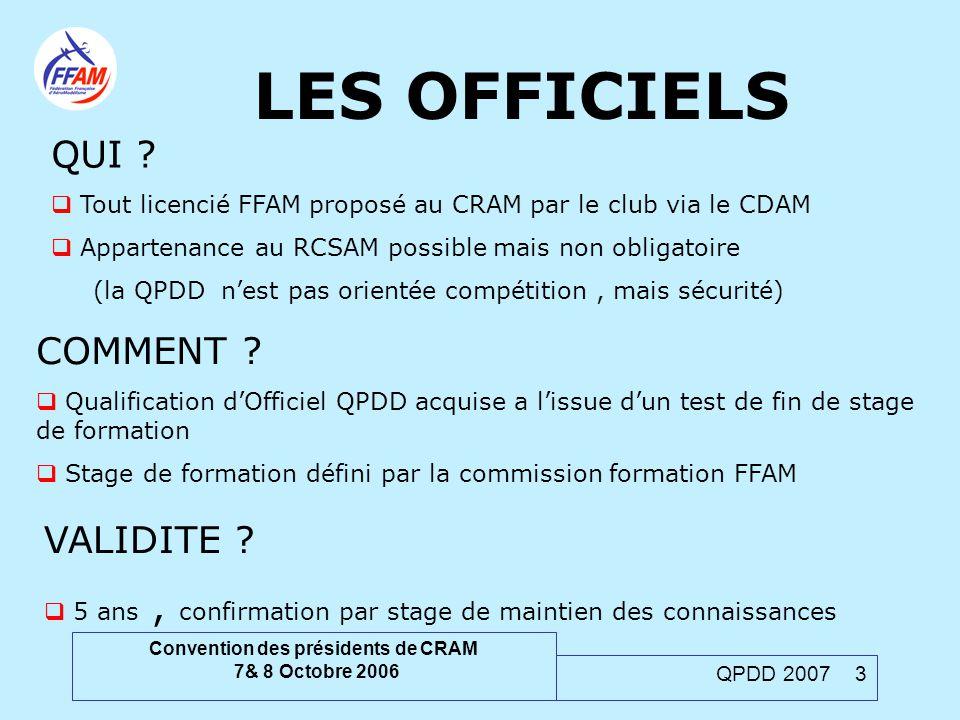 Convention des présidents de CRAM 7& 8 Octobre 2006 QPDD 2007 3 LES OFFICIELS COMMENT ?  Qualification d'Officiel QPDD acquise a l'issue d'un test de