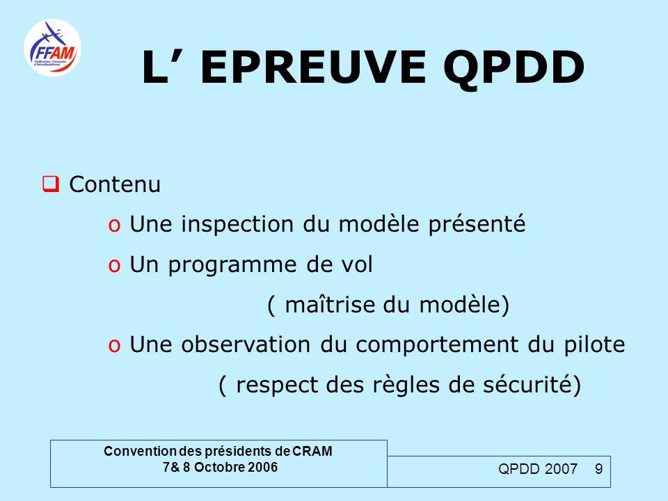 Convention des présidents de CRAM 7& 8 Octobre 2006 QPDD 2007 9  Contenu o Une inspection du modèle présenté o Un programme de vol ( maîtrise du modè
