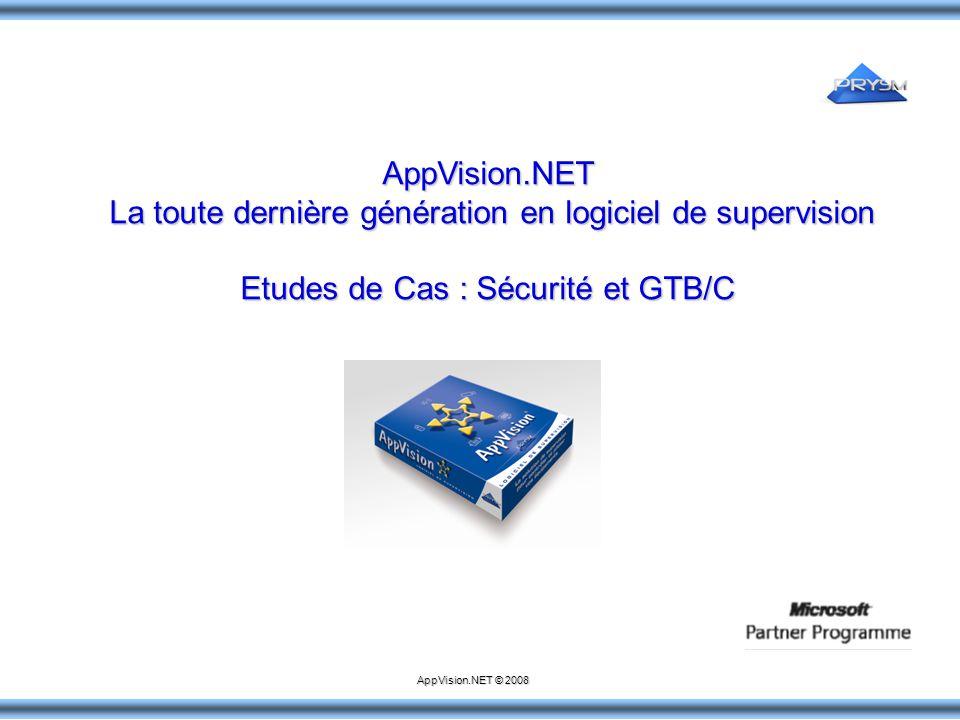 AppVision.NET La toute dernière génération en logiciel de supervision La toute dernière génération en logiciel de supervision Etudes de Cas : Sécurité