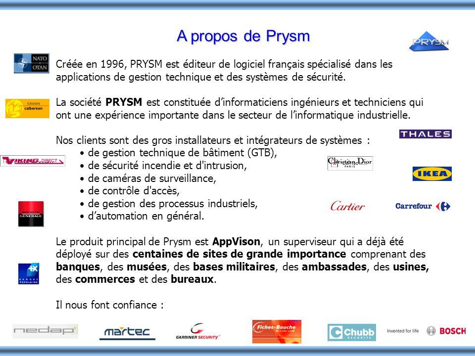 A propos de Prysm Créée en 1996, PRYSM est éditeur de logiciel français spécialisé dans les applications de gestion technique et des systèmes de sécur