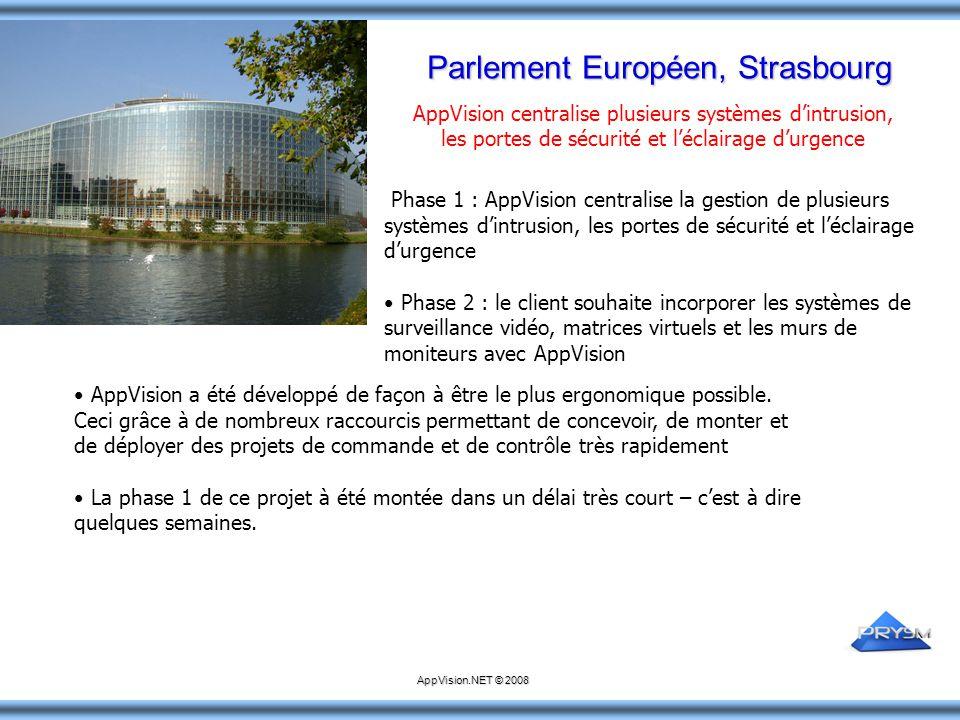 Parlement Européen, Strasbourg Phase 1 : AppVision centralise la gestion de plusieurs systèmes d'intrusion, les portes de sécurité et l'éclairage d'ur