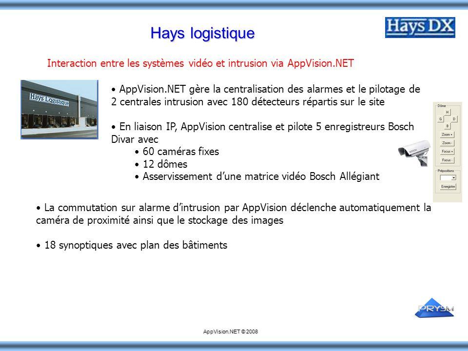 Hays logistique AppVision.NET gère la centralisation des alarmes et le pilotage de 2 centrales intrusion avec 180 détecteurs répartis sur le site En l