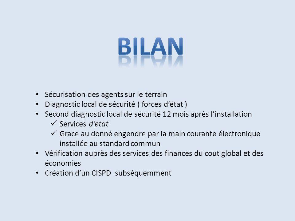 Sécurisation des agents sur le terrain Diagnostic local de sécurité ( forces d'état ) Second diagnostic local de sécurité 12 mois après l'installation