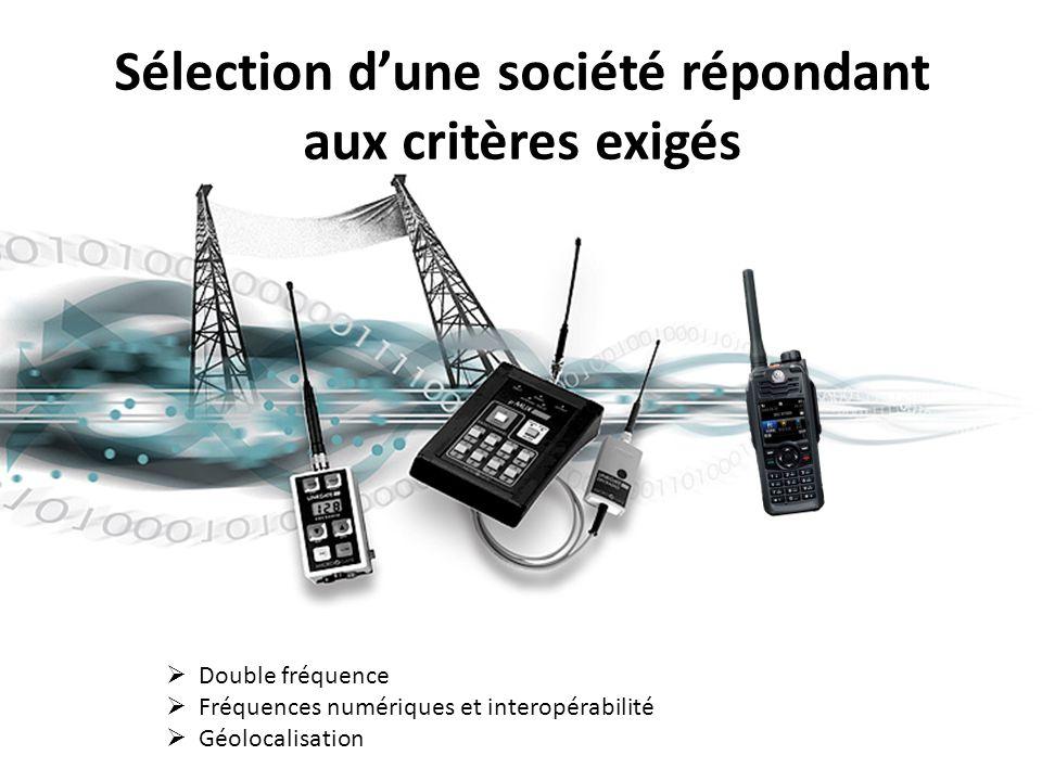 Sélection d'une société répondant aux critères exigés  Double fréquence  Fréquences numériques et interopérabilité  Géolocalisation