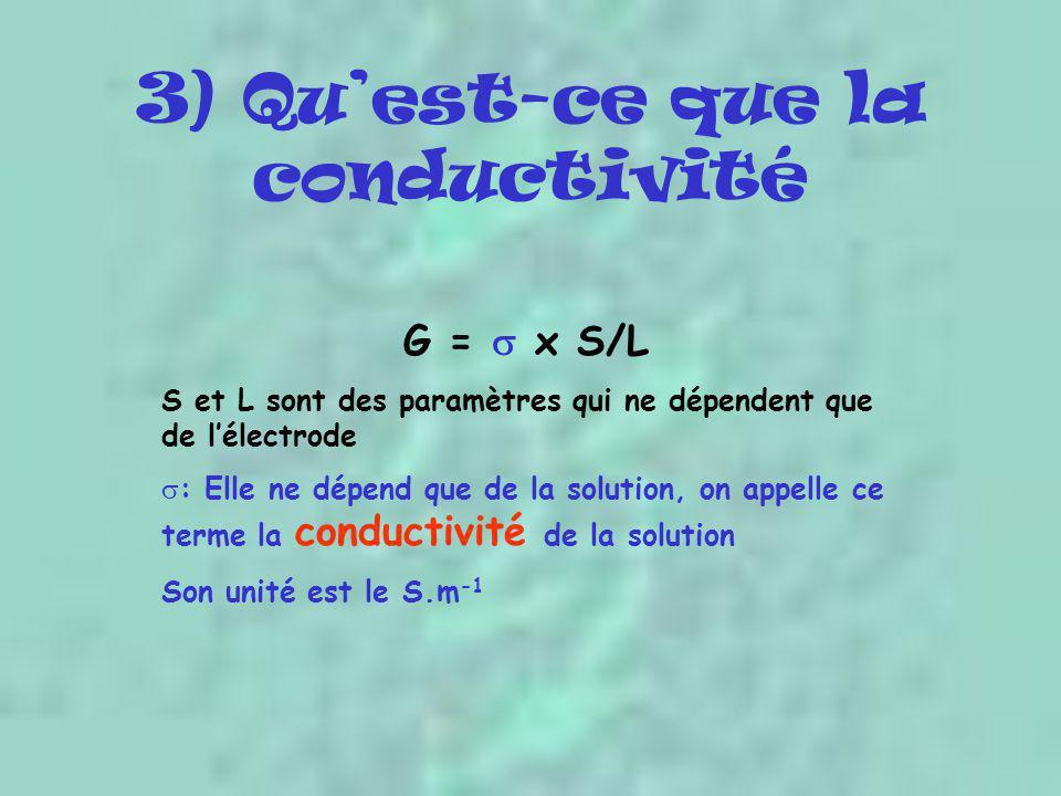 3) Qu'est-ce que la conductivité G =  x S/L S et L sont des paramètres qui ne dépendent que de l'électrode  : Elle ne dépend que de la solution, on