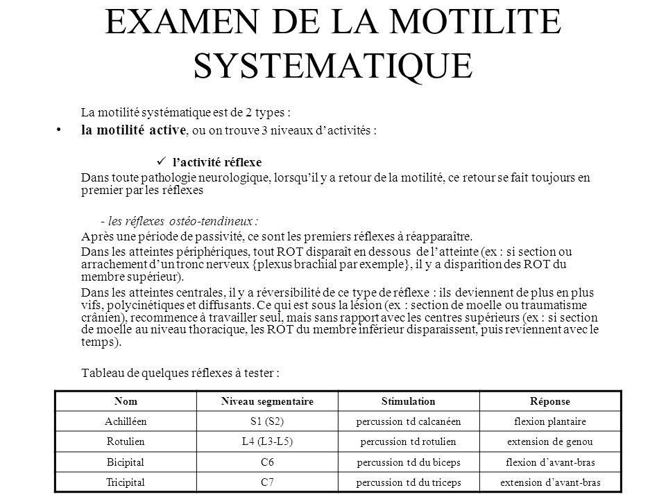EXAMEN DE LA MOTILITE SYSTEMATIQUE La motilité systématique est de 2 types : la motilité active, ou on trouve 3 niveaux d'activités : l'activité réfle