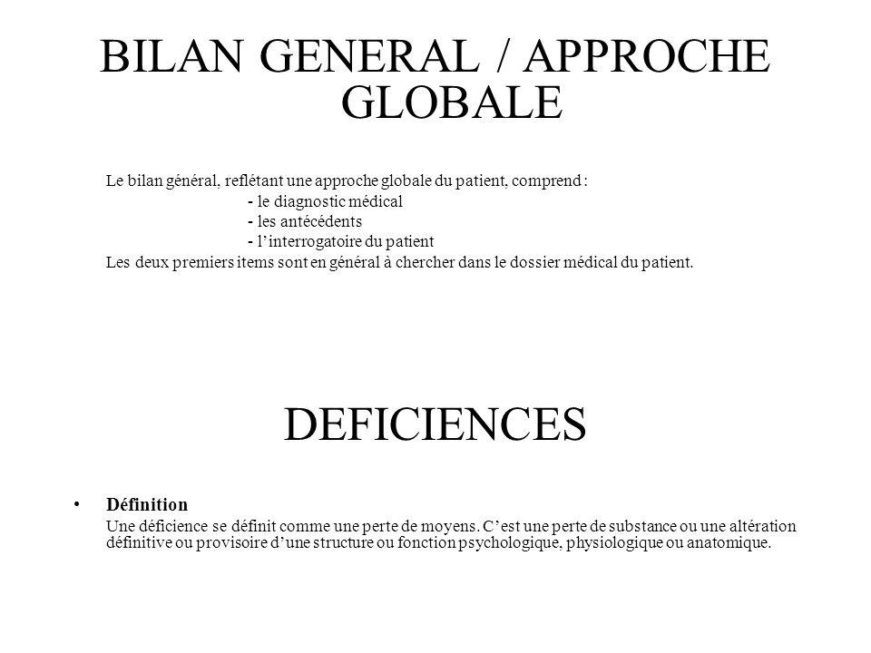 BILAN GENERAL / APPROCHE GLOBALE Le bilan général, reflétant une approche globale du patient, comprend : - le diagnostic médical - les antécédents - l
