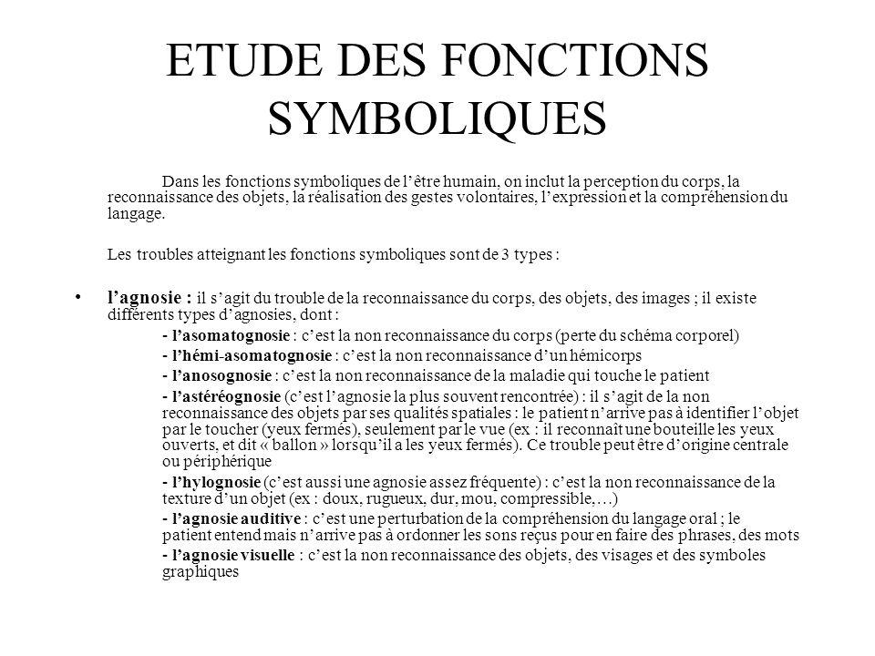 ETUDE DES FONCTIONS SYMBOLIQUES Dans les fonctions symboliques de l'être humain, on inclut la perception du corps, la reconnaissance des objets, la ré