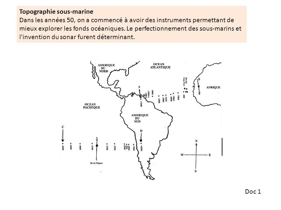 Doc 1 Topographie sous-marine Dans les années 50, on a commencé à avoir des instruments permettant de mieux explorer les fonds océaniques.