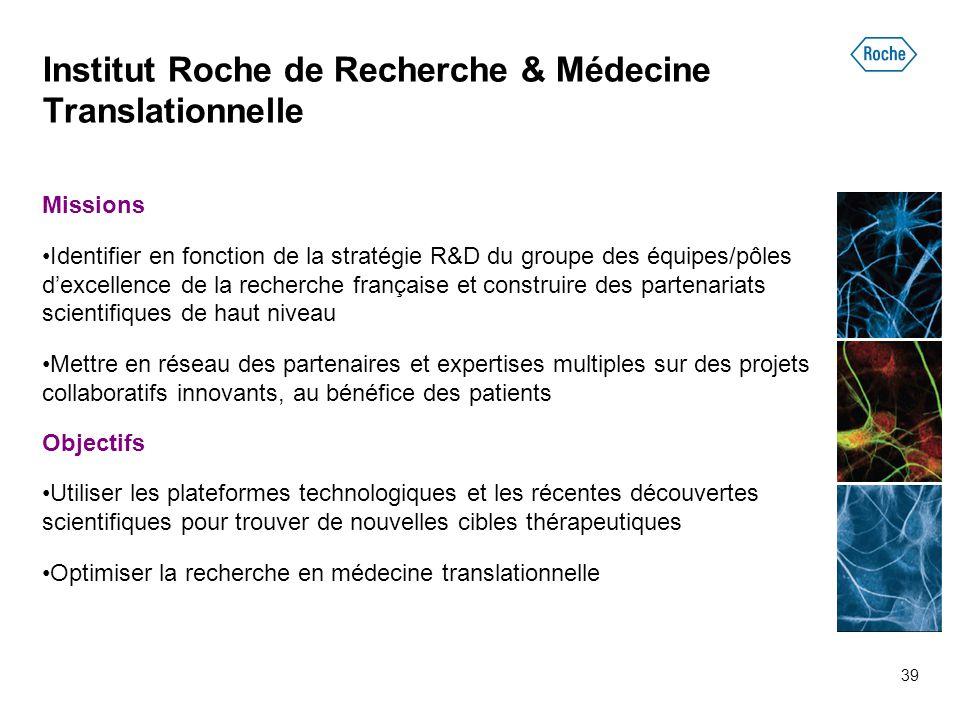Institut Roche de Recherche & Médecine Translationnelle Missions Identifier en fonction de la stratégie R&D du groupe des équipes/pôles d'excellence d