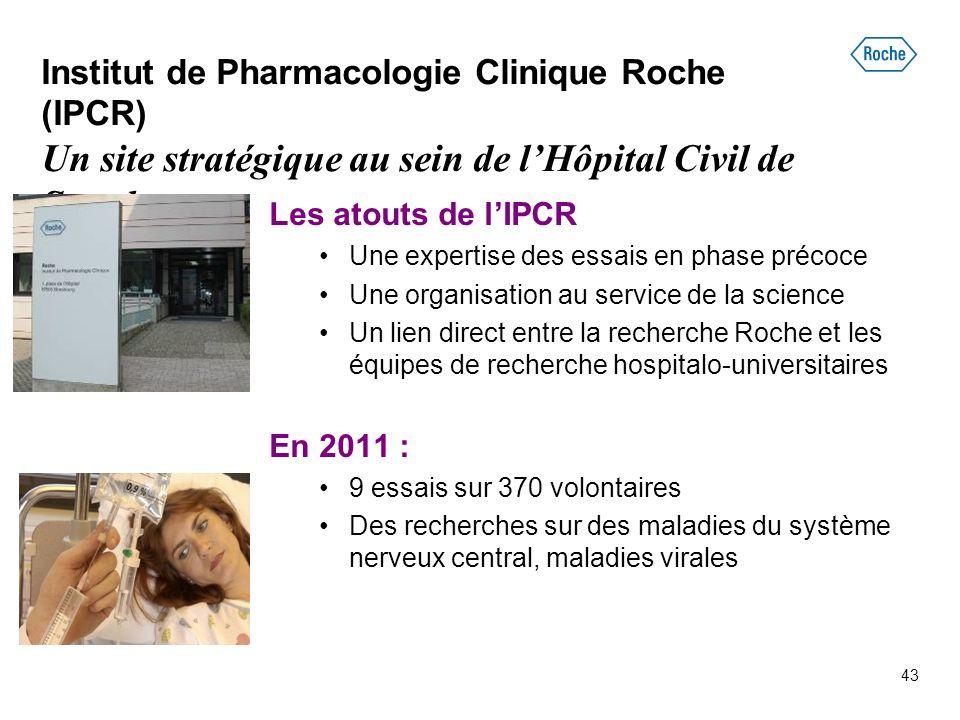 43 Institut de Pharmacologie Clinique Roche (IPCR) Un site stratégique au sein de l'Hôpital Civil de Strasbourg Les atouts de l'IPCR Une expertise des