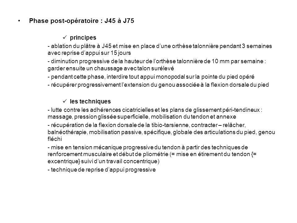 Phase post-opératoire : J45 à J75 principes - ablation du plâtre à J45 et mise en place d'une orthèse talonnière pendant 3 semaines avec reprise d'app