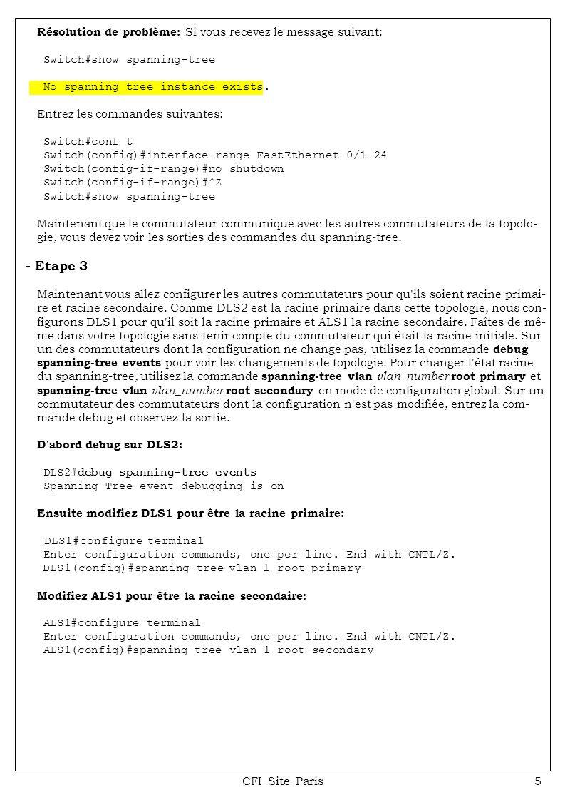 CFI_Site_Paris5 Résolution de problème: Si vous recevez le message suivant: Switch#show spanning-tree No spanning tree instance exists. Entrez les com
