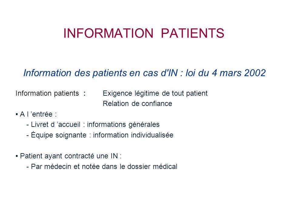 INFORMATION PATIENTS Information des patients en cas d'IN : loi du 4 mars 2002 Information patients : Exigence légitime de tout patient Relation de co