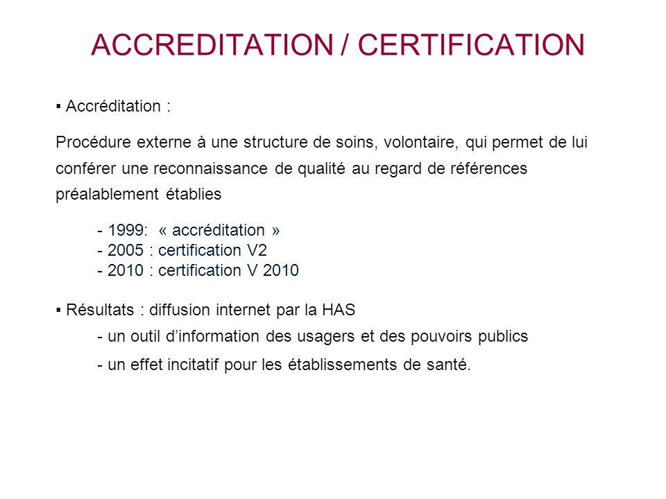 ACCREDITATION / CERTIFICATION ▪ Accréditation : Procédure externe à une structure de soins, volontaire, qui permet de lui conférer une reconnaissance