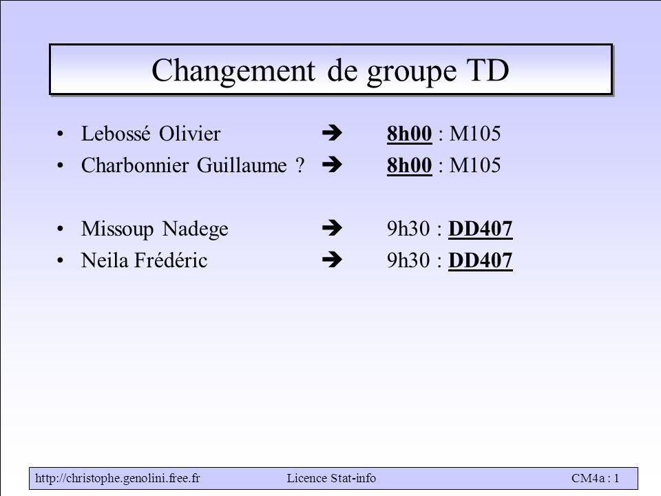 http://christophe.genolini.free.frLicence Stat-infoCM4a : 1 Changement de groupe TD Lebossé Olivier  8h00 : M105 Charbonnier Guillaume .
