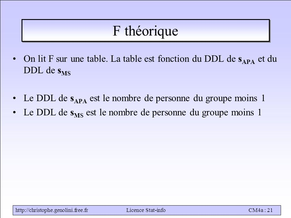 http://christophe.genolini.free.frLicence Stat-infoCM4a : 21 F théorique On lit F sur une table.